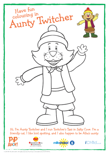 Thumbnail image for the Aunty Twitcher Colouring In Picture (Pip Ahoy!) activity.