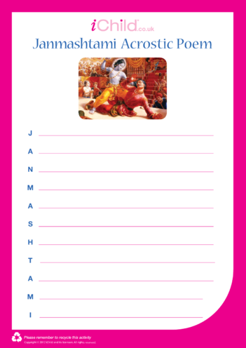 Thumbnail image for the Janmashtami Acrostic Poem activity.