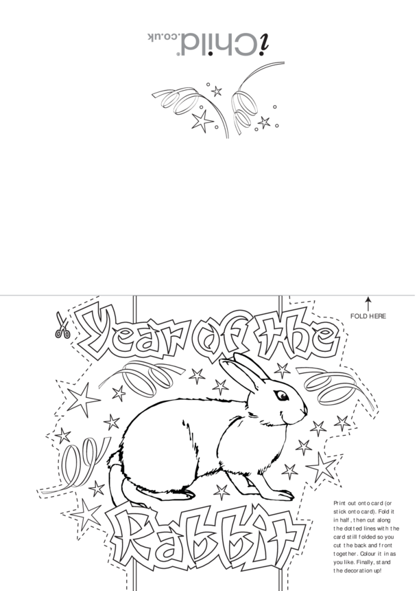 Chinese New Year Rabbit Craft Greetings Card