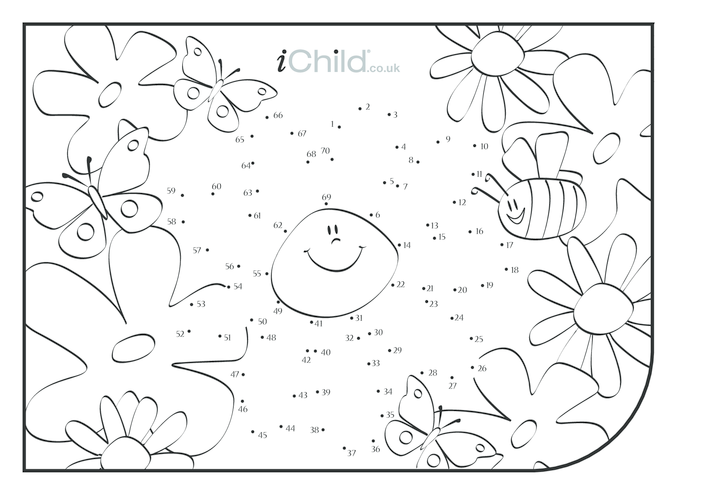 Thumbnail image for the Dot to Dot Garden Scene - Flower activity.