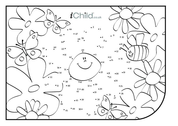 Thumbnail image for the Dot to Dot Garden Scene - Flower activity.