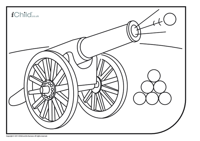 Thumbnail image for the Cannon Colouring in picture activity.