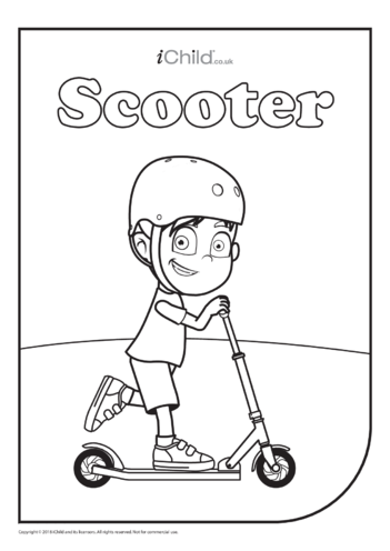 Thumbnail image for the Scooter (& Rider) Colouring in Picture activity.