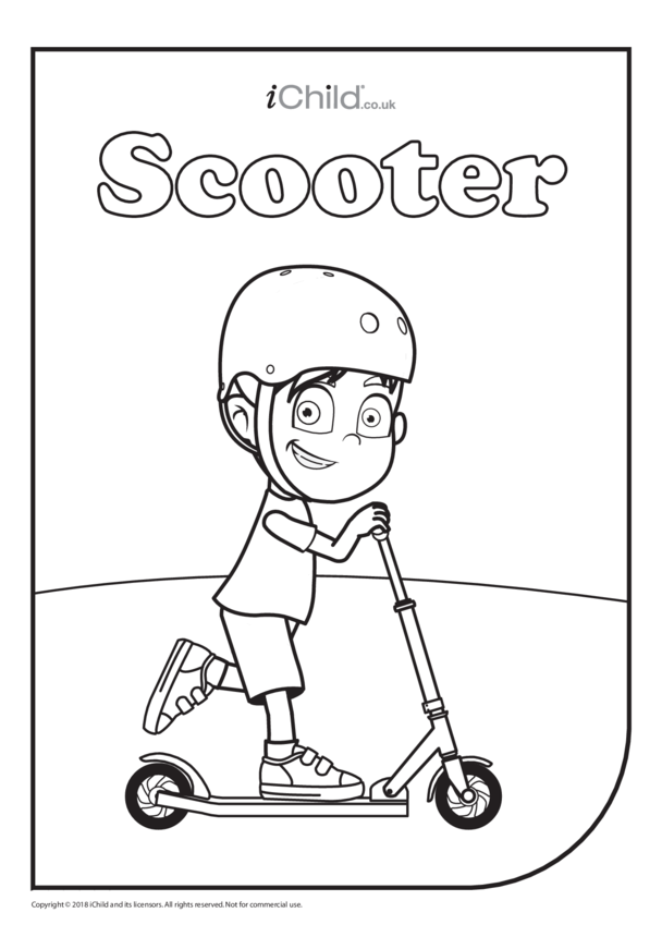 Scooter (& Rider) Colouring in Picture