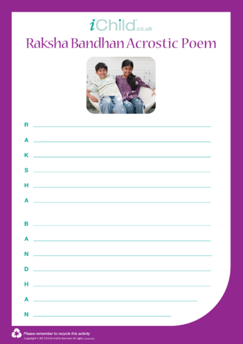 Thumbnail image for the Raksha Bandhan Acrostic Poem activity.