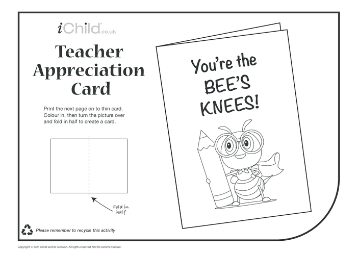 Thumbnail image for the Bee's Knees! (black & white) Teacher Appreciation Card activity.