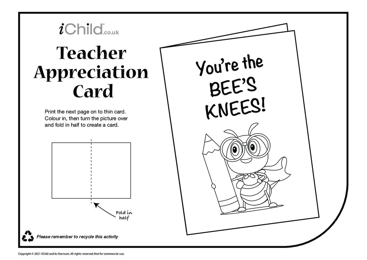 Bee's Knees! (black & white) Teacher Appreciation Card