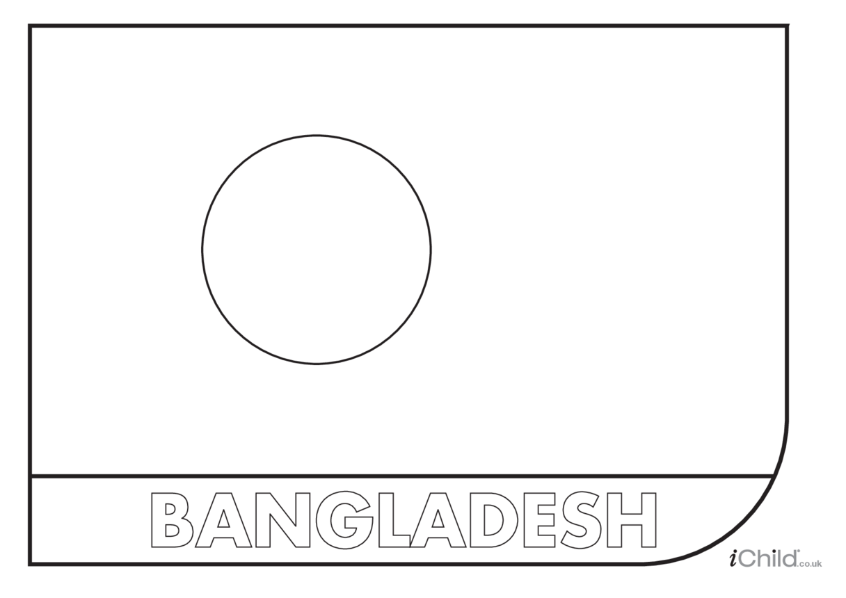 Bangladesh Flag Colouring in Picture (flag of Bangladesh)