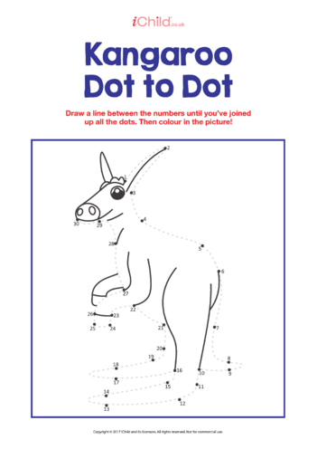 Thumbnail image for the Dot to Dot Kangeroo activity.