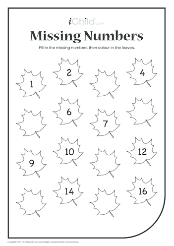 Thumbnail image for the Missing Numbers (Autumn Leaves) activity.