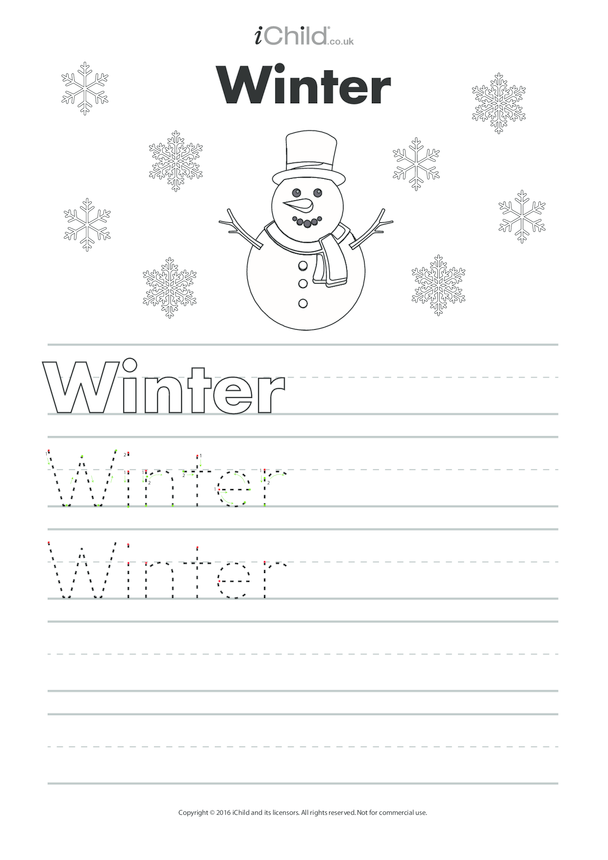 Winter Handwriting Practice Sheet