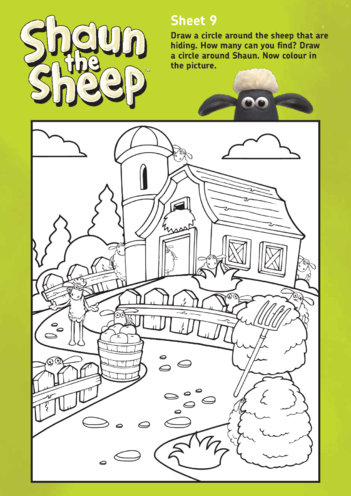 Thumbnail image for the Shaun The Sheep: Counting and Colouring Activity 2 (EYFS/KS1) activity.