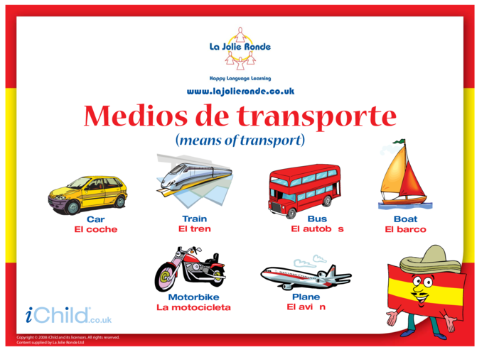 Thumbnail image for the Transport in Spanish activity.