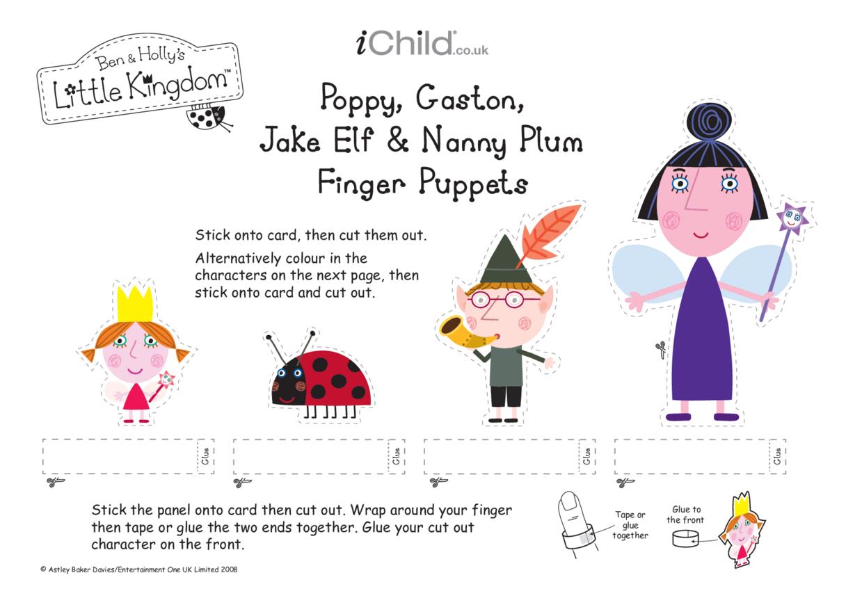 Finger Puppets: Poppy, Gaston, Jake Elf & Nanny Plum