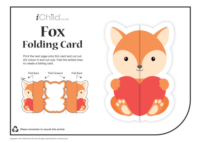 Thumbnail image for the Fox Love Folding Valentine Card activity.