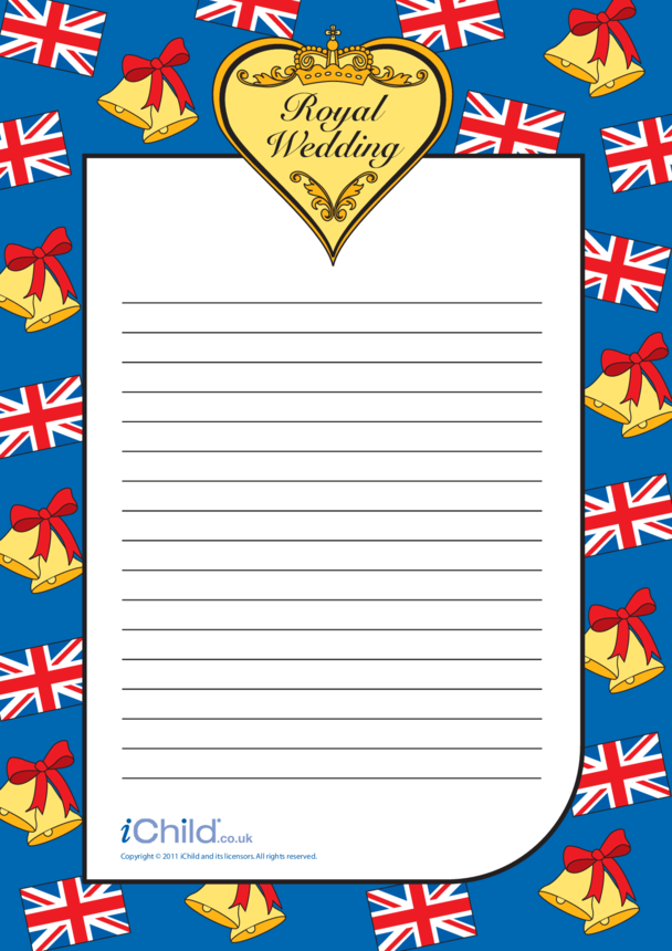 Royal Wedding Lined Writing Paper Template
