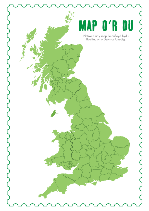 Welsh Language Primary 2) Fossil Hunters of the Past- UK Map