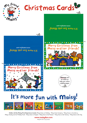 Thumbnail image for the Maisy Christmas Cards (Green & Blue) activity.