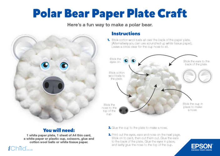 Thumbnail image for the Epson Polar Bear Paper Plate Craft activity.