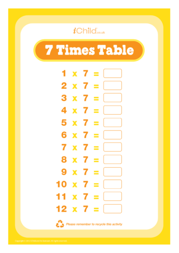 Thumbnail image for the (07) Seven Times Table Question Sheet activity.