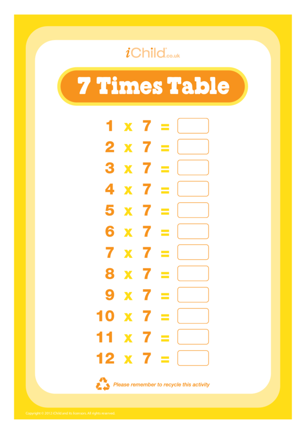 (07) Seven Times Table Question Sheet