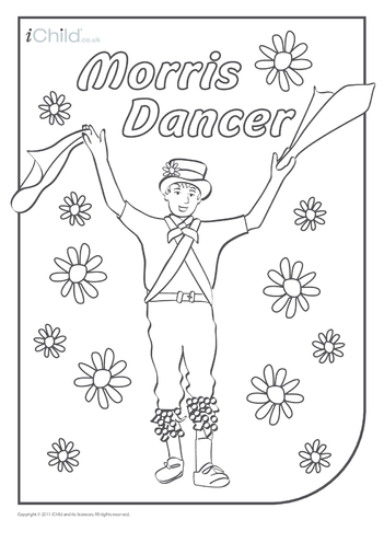 Thumbnail image for the Morris Dancer Colouring in picture activity.