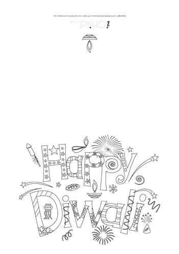 Thumbnail image for the Happy Diwali Card (black & white) activity.