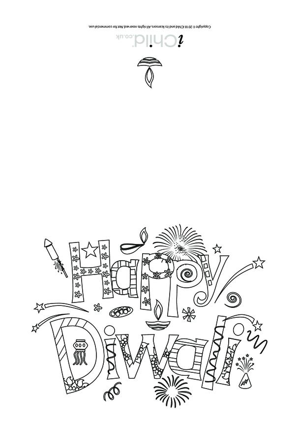 Happy Diwali Card (black & white)