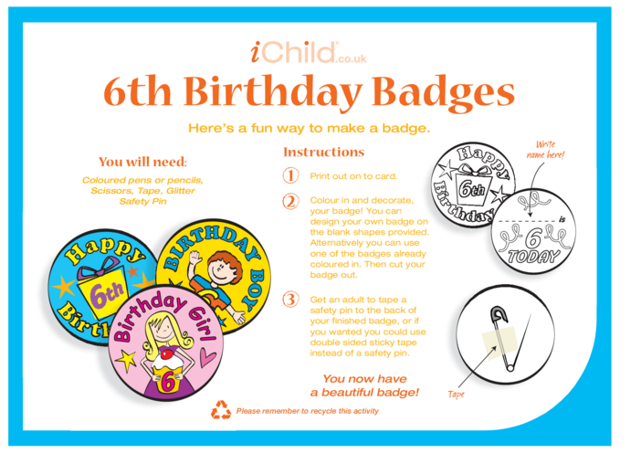 Thumbnail image for the Birthday Badges designs template for 6 year old 6th birthday activity.
