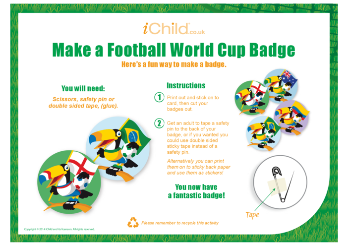 Thumbnail image for the Football World Cup Badge Craft activity.