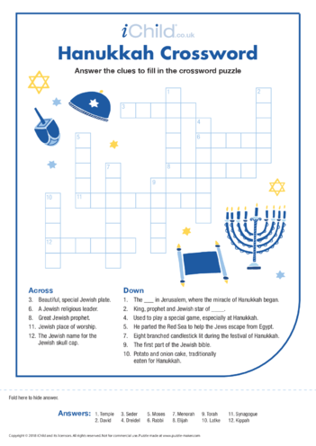 Thumbnail image for the Hanukkah Crossword activity.