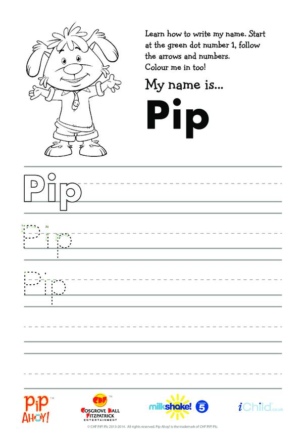 Pip Handwriting Practice Sheet (Pip Ahoy!)