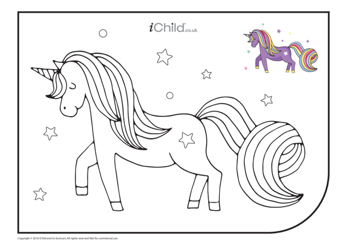 Thumbnail image for the Unicorn Colouring in Picture (Purple) activity.