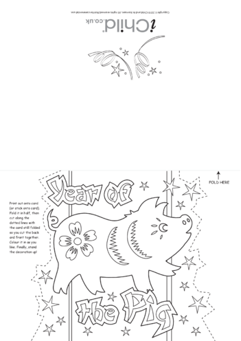 Thumbnail image for the Chinese New Year of the Pig Greetings Card activity.