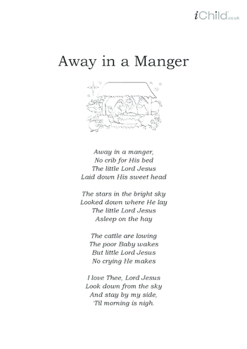 Thumbnail image for the Christmas Carol Lyrics: Away in a Manger activity.