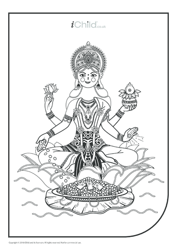 Thumbnail image for the Mother Goddess Durga Colouring in Picture activity.