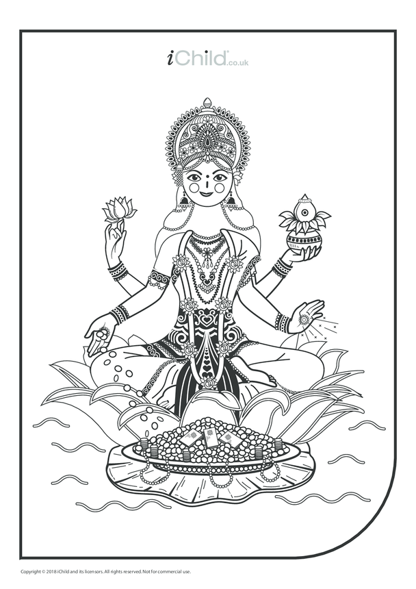 Mother Goddess Durga Colouring in Picture