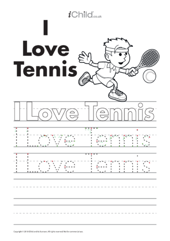 Thumbnail image for the I Love Tennis Handwriting Practice Sheet activity.