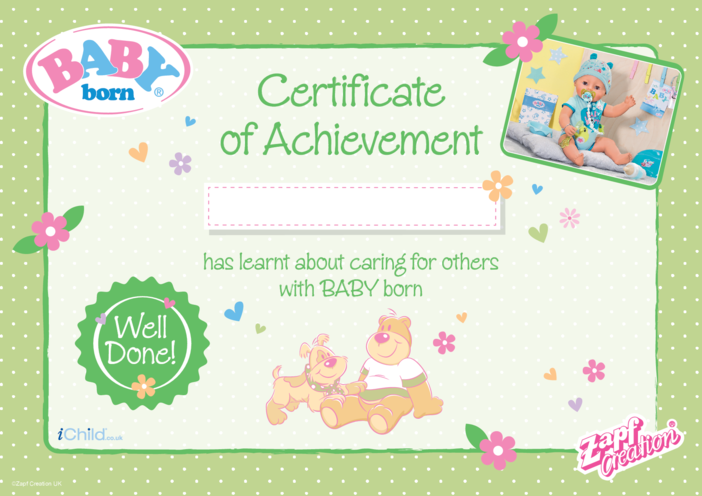 Thumbnail image for the BABY born Certificate of Achievement - Green activity.