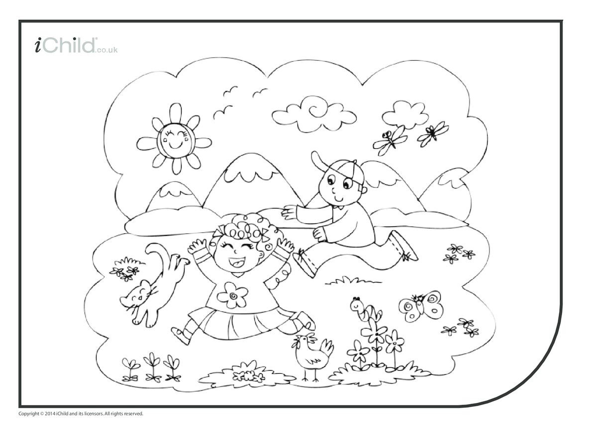 Summer Fun Colouring in Picture