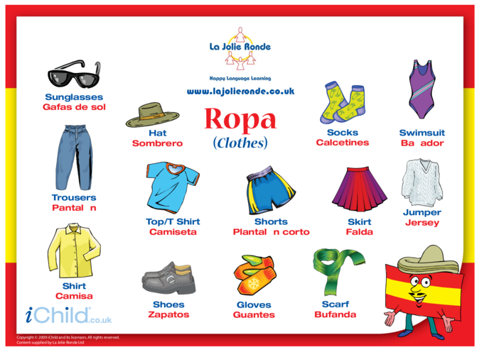 Thumbnail image for the Clothes in Spanish activity.