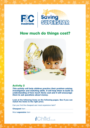 Thumbnail image for the Age 5-7 years (2) How much do things cost? activity.
