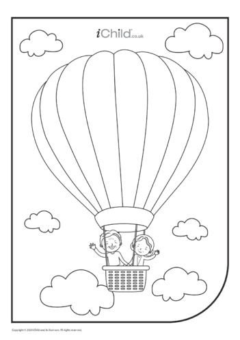 Thumbnail image for the Grandparents in Balloon Colouring in Picture activity.