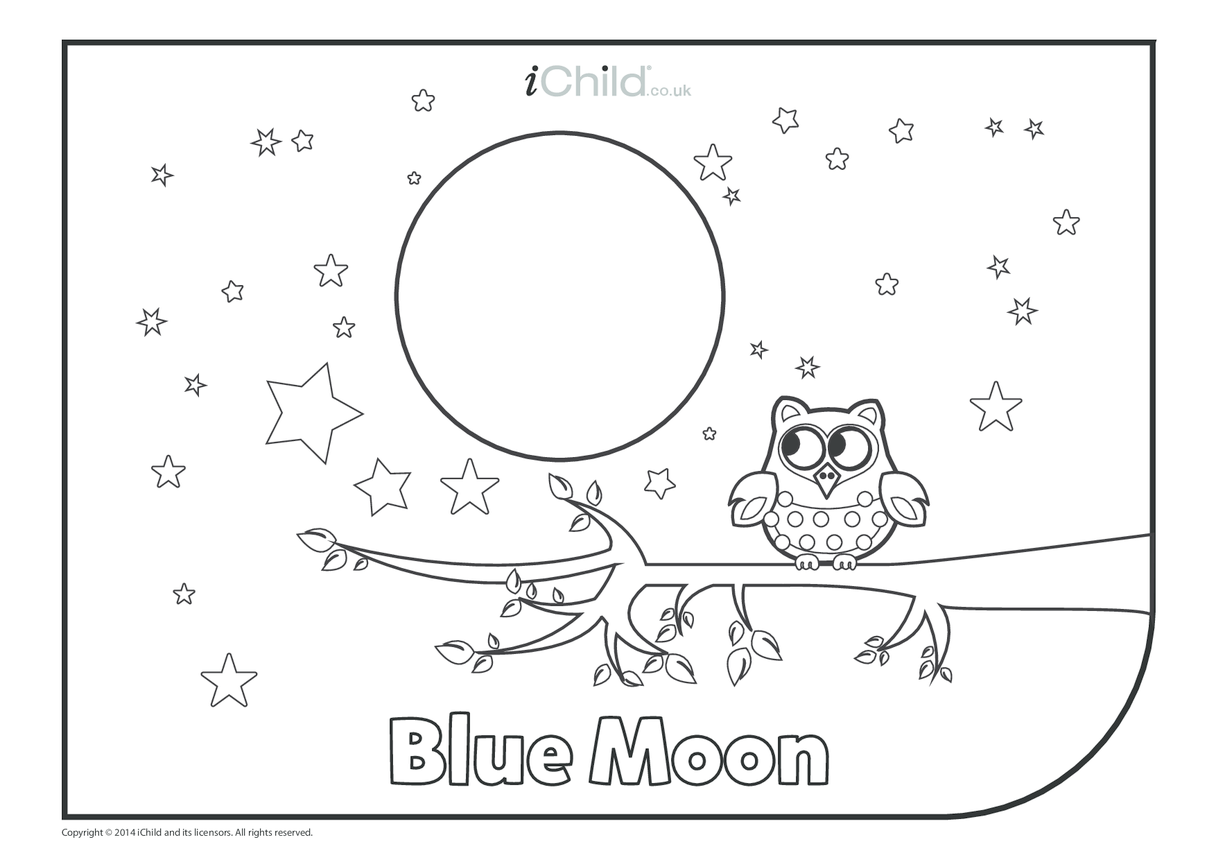 Blue Moon Colouring in Picture