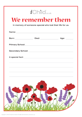 Thumbnail image for the We Remember Them Template activity.