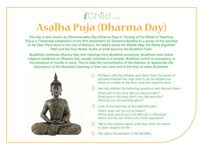 Thumbnail image for the Asalha Puja (Dharma Day) Religious Festival Story activity.