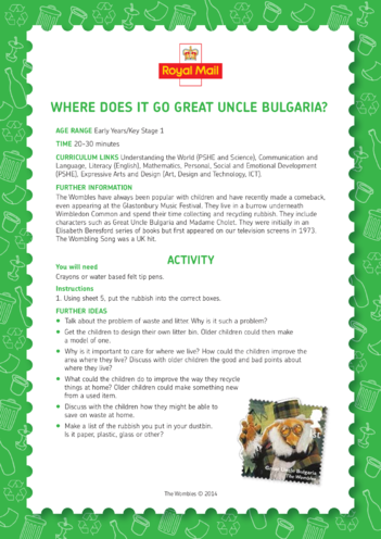 Thumbnail image for the The Wombles: Where Does It Go, Great Uncle Bulgaria? (EYFS/KS1) activity.