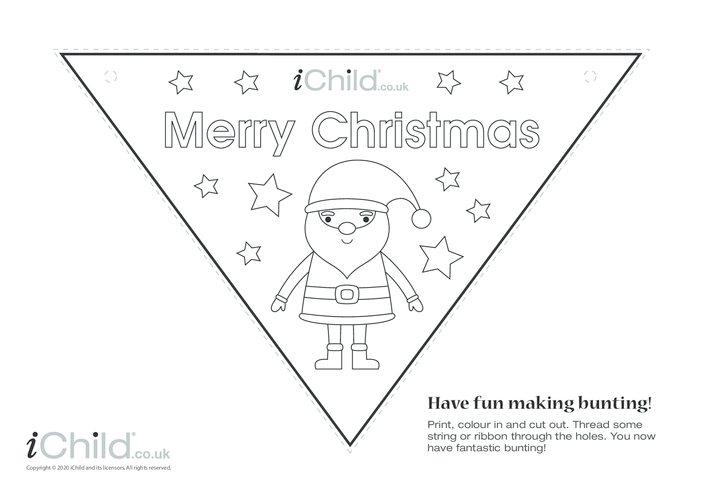 Thumbnail image for the A Merry Christmas Bunting (black & white) activity.