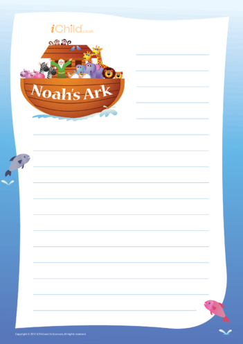 Thumbnail image for the Noah's Ark Lined Writing Paper activity.