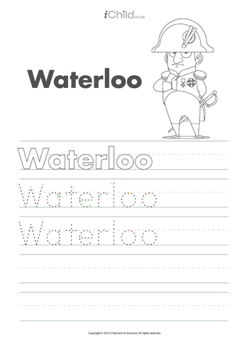 Thumbnail image for the Waterloo Handwriting Practice Sheet activity.